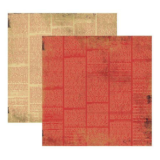 Papel Scrapbook Toke e Crie 30,5x30,5 KFSB199 Vermelho Jornal