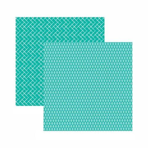 Papel Scrapbook Toke e Crie 30,5x30,5 KFSB535 Azul Turquesa Xadrez