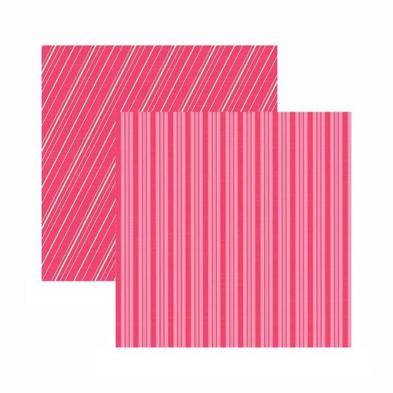 Papel Scrapbook Toke e Crie 30,5x30,5 KFSB552 Pink Listrado