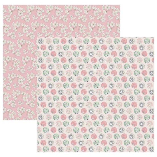 Papel Scrapbook Toke e Crie 30,5x30,5 SDF858 Verde e Rosa Poá