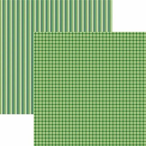 Papel Scrapbook Toke e Crie KFSB497 Dupla Face 30,5x30,5cm Xadrez e Listras Verde By Mariceli