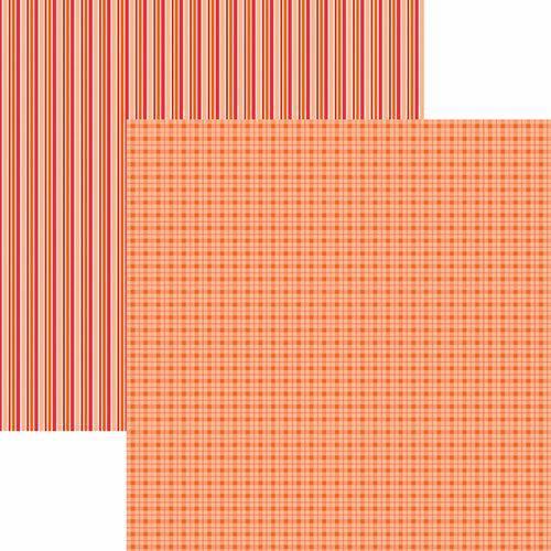 Papel Scrapbook Toke e Crie Kfsb509 Dupla Face 30,5x30,5cm Xadrez e Listras Laranja By Mariceli