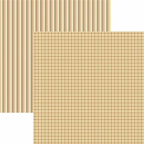 Papel Scrapbook Toke e Crie KFSB521 Dupla Face 30,5x30,5cm Xadrez e Listras Areia By Mariceli