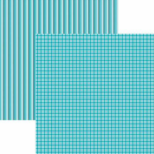 Papel Scrapbook Toke e Crie Kfsb517 Dupla Face 30,5x30,5cm Xadrez e Listras Turquesa By Mariceli