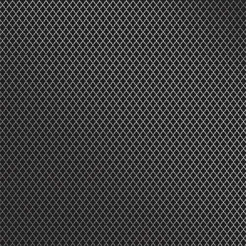 Papel Scrapbook Toke e Crie Sdf718 Simples 30,5x30,5cm Metalizado Marroquino Prateado Fundo Preto