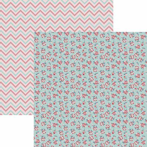 Papel Scrapbook Toke e Crie Sdf759 Dupla Face 30,5x30,5cm Rosas com Chevron By Ivy Larrea