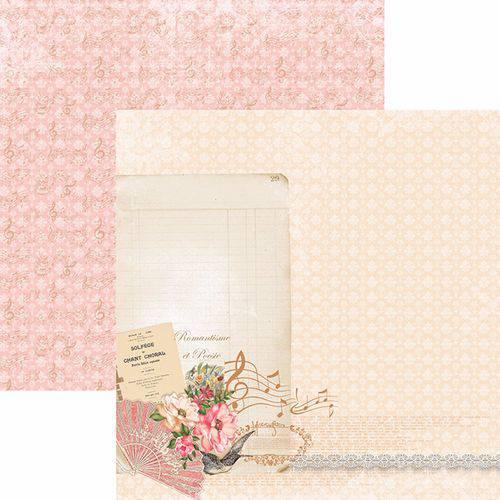 Papel Scrapbook Toke e Crie Sdf766 Dupla Face 30,5x30,5cm Floral Clássico Poesia