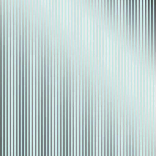 Papel Scrapbook Toke e Crie Sdf737 Simples 30,5x30,5cm Metalizado Listras Prateado Fundo Azul
