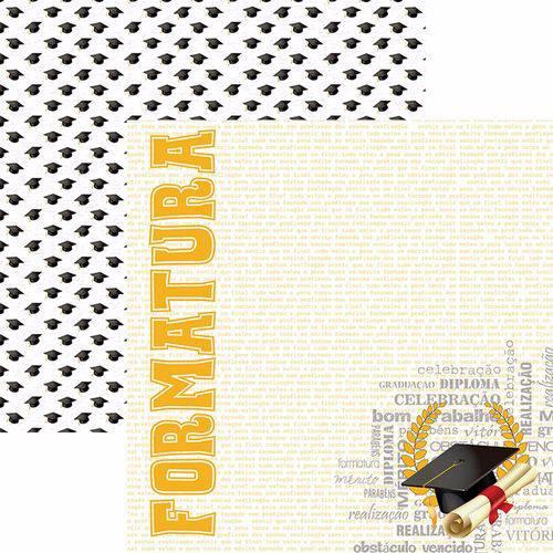 Papel Scrapbook Toke e Crie Sdf774 Dupla Face 30,5x30,5cm Formatura Capelo By Flavia Terzi