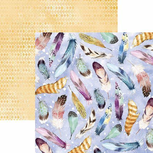 Papel Scrapbook Toke e Crie Sdf785 Dupla Face 30,5x30,5cm Filtro dos Sonhos Penas