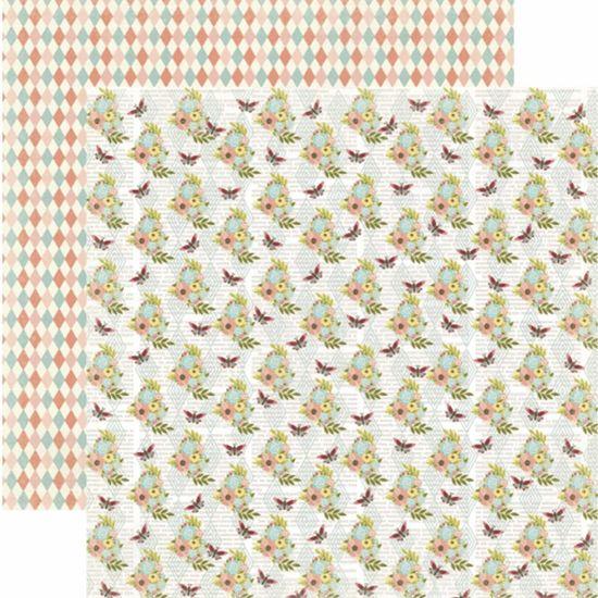 Papel Scrapbook Toke e Crie SDF806 Dupla Face 30,5x30,5cm Floral Flores e Borboleta