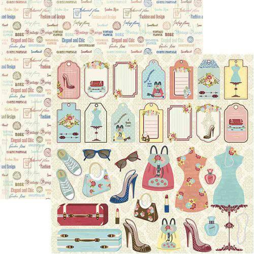 Papel Scrapbook Toke e Crie Sdf821 Dupla Face 30,5x30,5cm Ela Tags e Recortes By Ivana Madi