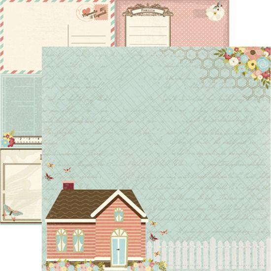 Papel Scrapbook Toke e Crie SDF811 Dupla Face 30,5x30,5cm Minha Família Casa
