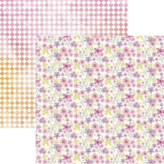 Papel Scrapbook Toke e Crie SDF828 30,5x30,5cm Floral Delicado e Losangos Aquarelado By Ivy Larrea