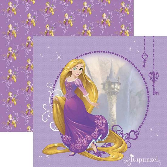 Papel Scrapbook Toke e Crie SDFD147 Dupla Face 30,5x30,5cm Rapunzel 1 Guirlanda