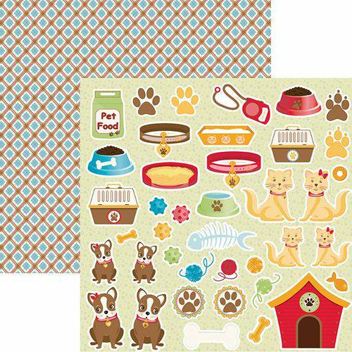 Papel Scrapbook Toke e Crie Smb025 Dupla Face 30,5x30,5cm Pet Recortes By Ivana Madi