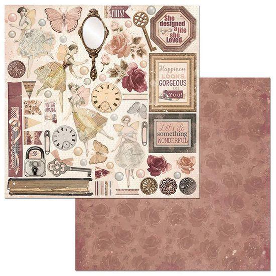 Papel Scrapbook WER125 30,5x30,5 Bo Bunny Perfeição
