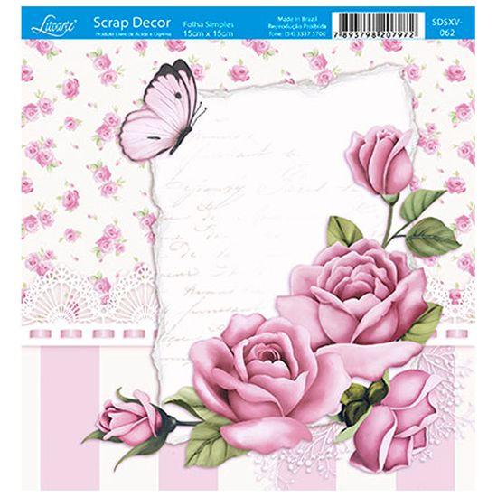Papel ScrapDecor Litoarte SDSXV-062 Simples 15x15cm Rosas
