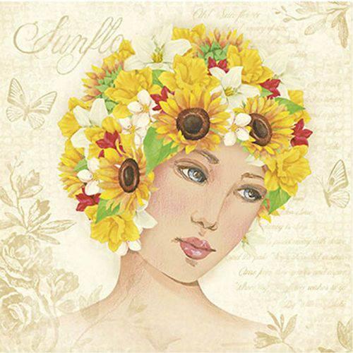 Papel Scrapdecor Litoarte Sdsxv-094 Simples 15x15cm Mulher com Girassóis e Flores na Cabeça