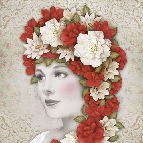 Papel Scrapdecor Litoarte Sdsxv-095 Simples 15x15cm Mulher Flores Vermelhas e Brancas na Cabeça