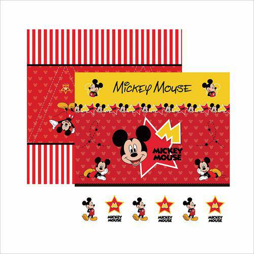 Papel Scrapfesta Disney Mickey Mouse Cenário e Bandeirolas Sdfd012 - Toke e Crie