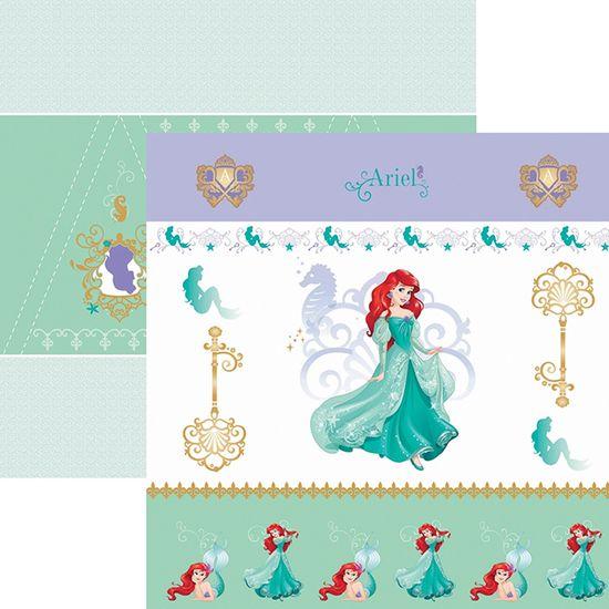 Papel ScrapFesta Disney Princesa Ariel Cenário e Bandeirolas SDFD082 - Toke e Crie