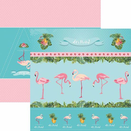 Papel ScrapFesta Toke e Crie SDF748 Dupla Face 30,5x30,5cm Flamingos Cenários e Bandeirolas By Mariceli