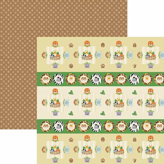 Papel ScrapFesta Toke e Crie SDF756 Dupla Face 30,5x30,5cm Meu Safári Forminhas e Toppers By Mariceli
