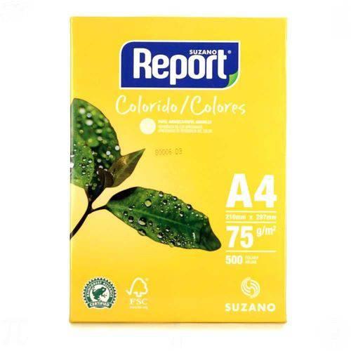 Papel Sulfite 75g 210x297 A4 Amarelo 500 Folhas Report