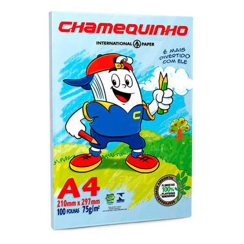 Papel Sulfite A4 Azul 75 G/m2 C/ 100 Folhas - Chamequinho