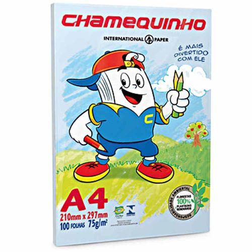 Papel Sulfite A4 Chamequinho Azul 100 Folhas 1001438