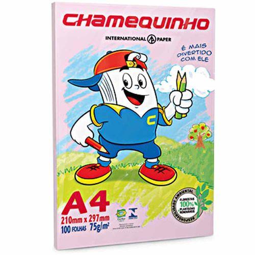 Papel Sulfite A4 Chamequinho Rosa 100 Folhas 80595