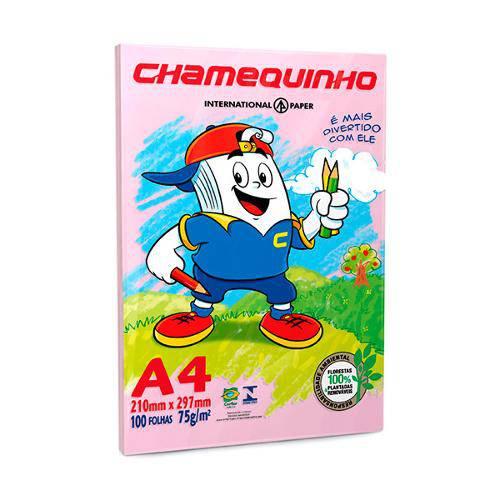 Papel Sulfite A4 - Rosa - 75g - C/ 100 Folhas - Chamequinho