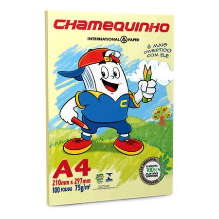 Papel Sulfite Chamequinho A4 100 Folhas Amarela