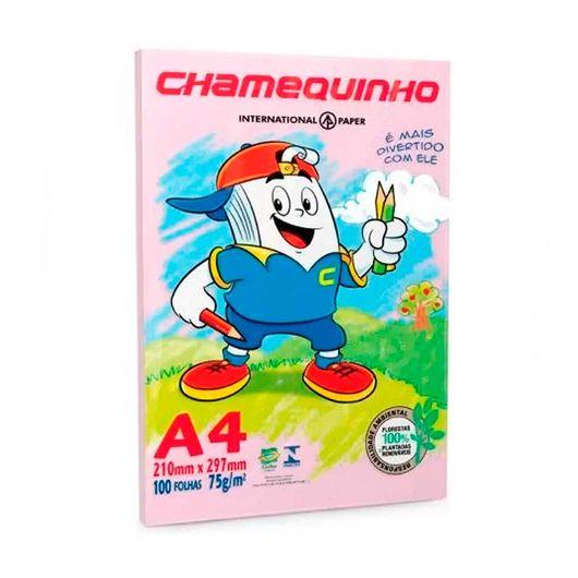 Papel Sulfite Chamequinho Rosa 75g A4 100 Folhas -1 Pacote