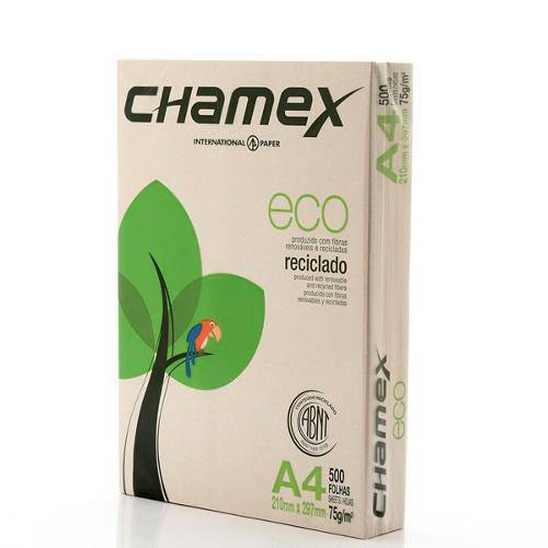 Papel Sulfite Eco A4 Reciclado 75g - 500 Folhas - Chamex