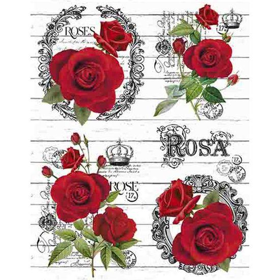 Papel Transfer Litoarte 21,8x28,4cm PTG-054 Rosas Vermelhas