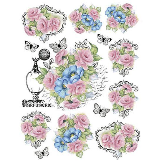 Papel Transfer Litoarte 21,8x28,4cm PTG1-025 Rosas e Flores Azuis By Lili Negrão
