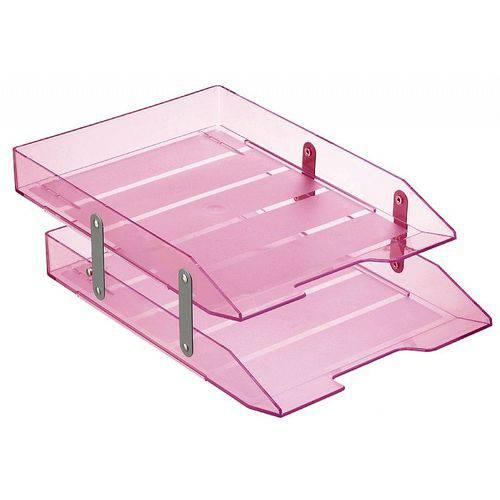 Papeleira Fixa Poliestireno 2 Divisórias Rosa