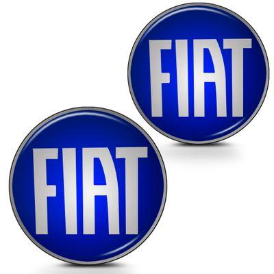 Par de Adesivo Emblema Resinado para Chave Canivete - Linha Fiat - Azul Liso