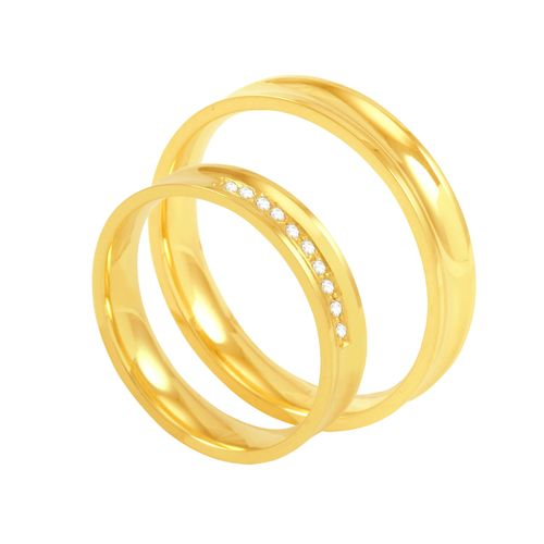 Par de Alianças em Ouro 18K Côncava com Diamantes 4MM - AU5306 - 12