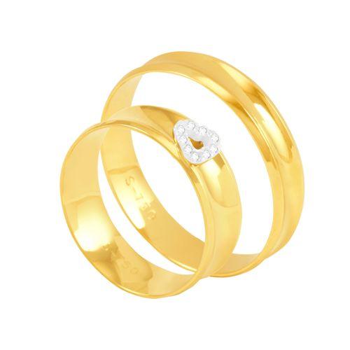 Par de Alianças em Ouro 18K Côncava com Diamantes 6MM - AU5350 - 12