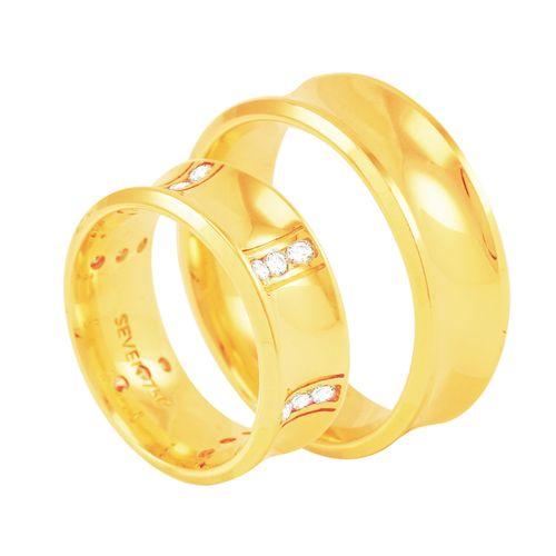 Par de Alianças em Ouro 18K Côncava com Diamantes - AU4200 - 13