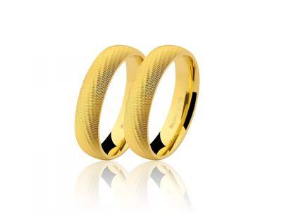 Par de Alianças Textura Ouro Amarelo
