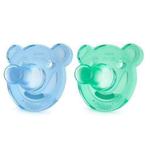 Par de Chupetas Calmante Soothie Meninos Azul e Verde - 0-3