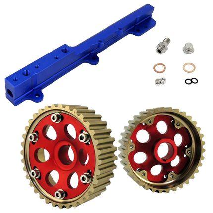 Par de Polias Reguláveis para Honda B16 (1.6 DOHC) Vermelha em Alumínio + Flauta de Combustível Billet Azul