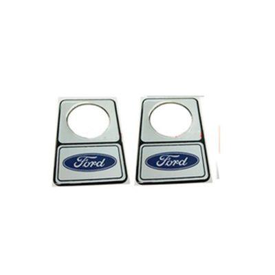 Par de Protetores de Cilindro da Porta Prata com Logo Ford Azul - 34 Mm