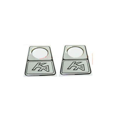 Par de Protetores de Cilindro da Porta Prata com Logo Ka Preto Vazado - 34 Mm