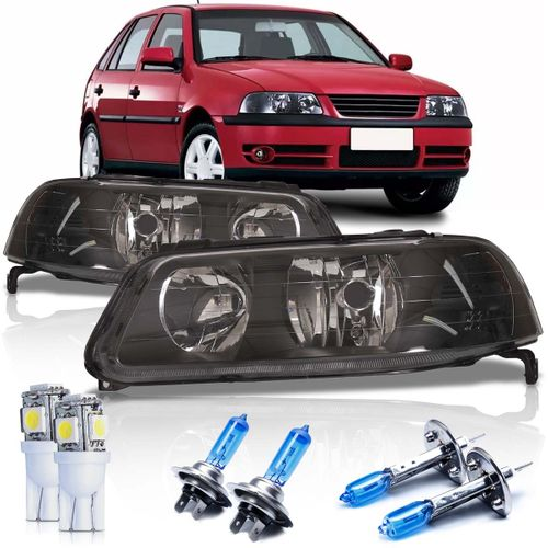 Par Farol Volkswagen Gol Parati Saveiro G3 1999 2000 2001 2002 2003 2004 2005 Foco Duplo Máscara Negra GIII + Lâmpadas