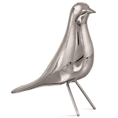 Pássaro Decorativo em Cerâmica Prateado 18x6cm